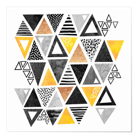 Póster  Triangle abstract   Black and yellow - Elisabeth Fredriksson
