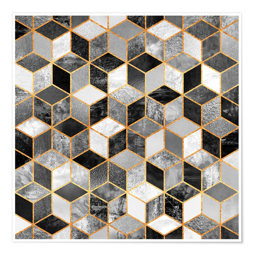 Póster Black and white cubes