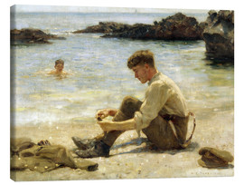 Lienzo  Lawrence el cadete en Newporth beach - Henry Scott Tuke