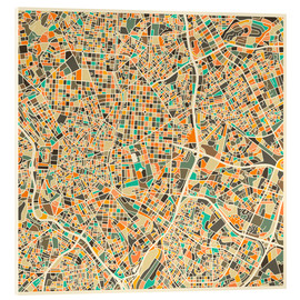 Cuadro de metacrilato  Mapa de Madrid - Jazzberry Blue
