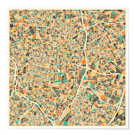 Póster  Mapa de Madrid - Jazzberry Blue