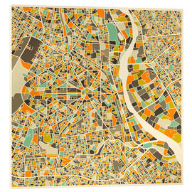 Cuadro de metacrilato  New Delhi Map - Jazzberry Blue