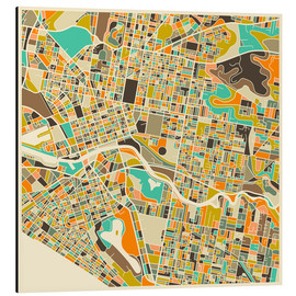 Cuadro de aluminio  Melbourne Map - Jazzberry Blue