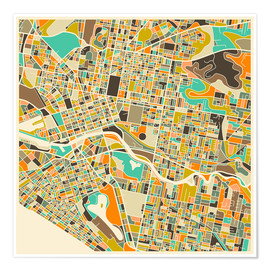 Póster  Melbourne Map - Jazzberry Blue