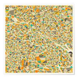 Póster  Mapa de berlin colorido - Jazzberry Blue