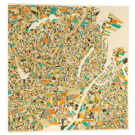 Cuadro de metacrilato  Copenhagen Map - Jazzberry Blue