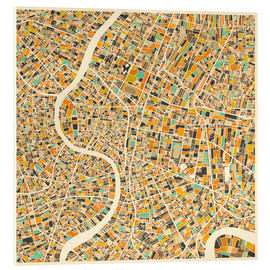Cuadro de metacrilato  Bangkok Map - Jazzberry Blue