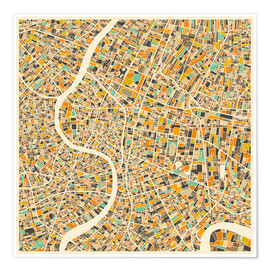Póster  Bangkok Map - Jazzberry Blue