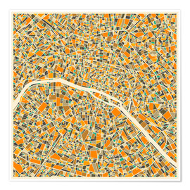 Póster  Mapa de paris colorido - Jazzberry Blue