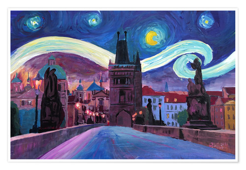 Póster Starry Night in Prague   Van Gogh Inspirations on Charles Bridge in Czech Republic
