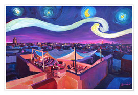 Póster Starry Night in Marrakech   Van Gogh Inspirations on Fna Market Place in Morocco