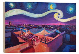 Cuadro de madera  Starry Night in Marrakech   Van Gogh Inspirations on Fna Market Place in Morocco - M. Bleichner