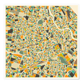Póster  Vienna Map - Jazzberry Blue