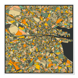 Póster  Dublin Map - Jazzberry Blue