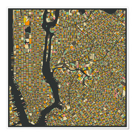 Póster  New York Map - Jazzberry Blue