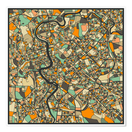 Póster  Rome Map - Jazzberry Blue