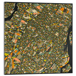 Cuadro de metacrilato  Montreal Map - Jazzberry Blue