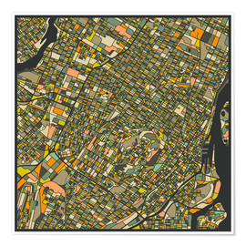 Póster  Montreal Map - Jazzberry Blue