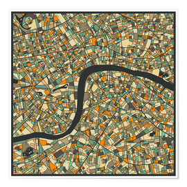 Póster  London Map - Jazzberry Blue