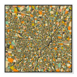 Póster  Munich Map - Jazzberry Blue