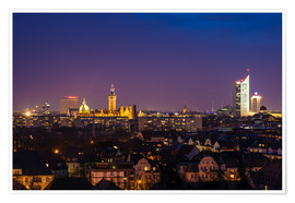 Póster Leipzig Skyline at night