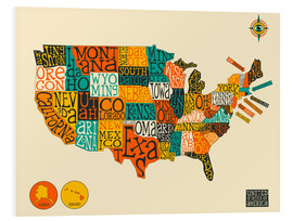 Cuadro de PVC  UNITED STATES Map - Jazzberry Blue