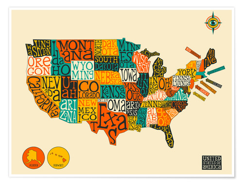 Póster UNITED STATES Map