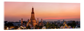 Cuadro de metacrilato  Panoramic of Wat Arun temple at sunset, Bangkok, Thailand - Matteo Colombo