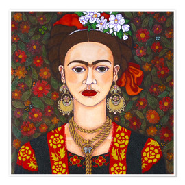 Póster  Frida with butterflies - Madalena Lobao-Tello