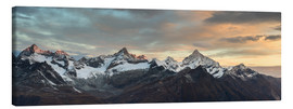 Lienzo  Panorama from Gornergrat at sunrise  Obergabelhorn, Zinalrothorn, Weisshorn and Bietschorn mountain - Peter Wey