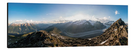 Cuadro de aluminio  360 degree panorama from Bettmerhorn with Aletsch Glacier, Valais, Switzer - Peter Wey