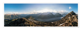 Póster 360 degree panorama from Bettmerhorn with Aletsch Glacier, Valais, Switzer