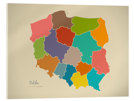 Cuadro de metacrilato  Modern Map of Poland Artwork Design - Ingo Menhard