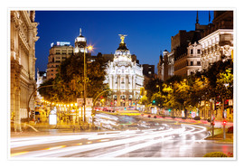 Póster  Madrid city at night, Spain - Matteo Colombo