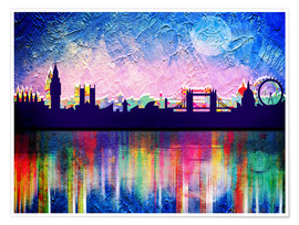 Póster  London in blue - Mark Ashkenazi
