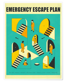 Póster  Emergency Escape Plan 1 - Jazzberry Blue