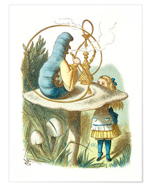 Póster  Alice and the Caterpillar - John Tenniel