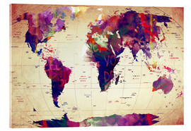 Cuadro de metacrilato  Map of the world vintage - Mark Ashkenazi