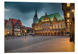 Cuadro de PVC  Bremen Market Square with City Hall - Rainer Ganske