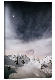 Lienzo  Piz Palu in moonlight, view from Diavolezza, Engadin, Switzerland - Peter Wey