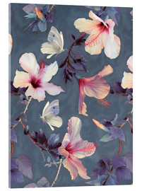 Cuadro de metacrilato  Butterflies and Hibiscus Flowers - a painted pattern - Micklyn Le Feuvre