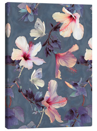 Lienzo  Butterflies and Hibiscus Flowers - a painted pattern - Micklyn Le Feuvre