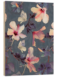 Cuadro de madera  Butterflies and Hibiscus Flowers - a painted pattern - Micklyn Le Feuvre