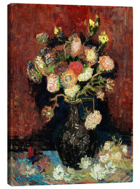 Lienzo  Vase with Chinese Asters and Gladioli - Vincent van Gogh