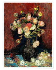 Póster Vase with Chinese Asters and Gladioli