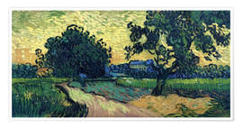 Póster Field with Trees, the Chateau of Auvers