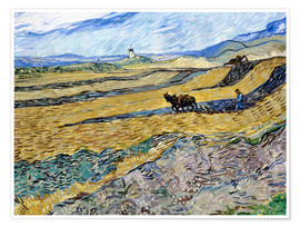 Póster Enclosed Field with Ploughman