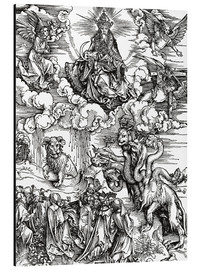 Cuadro de aluminio  Seven-headed beast from the sea and the beast with horns lamb - Albrecht Dürer