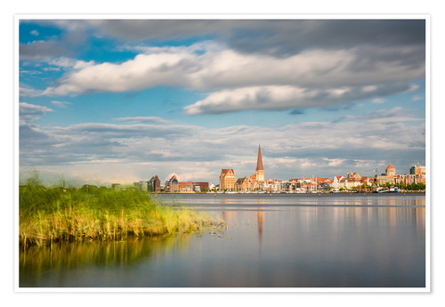 Póster View over the river Warnow to Rostock (Germany)