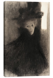 Lienzo  Portrait of a Lady with Cape and Hat - Gustav Klimt